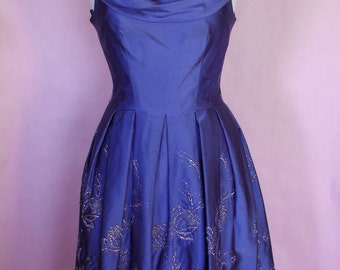 Late 50s Early 60s Lavender and Silver Party Dress