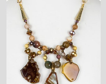 Raw stone beaded necklace set