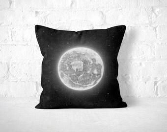 Moon Throw Pillow, Geek Home Decor, Black Throw Pillow, Geek Throw Pillow, Space Pillow, Space Decor, Nerd Pillow, Fun Throw Pillow, Moon