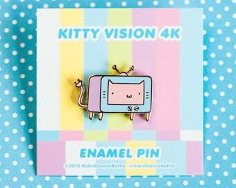 tv cat enamel pin, cute enamel pin, cat accessories, cat pin – pink face version