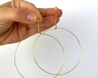 Large Dangling Gold Hoop Earrings