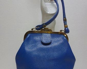 Roger Van S Mid Century Blue Small Handbag Purse