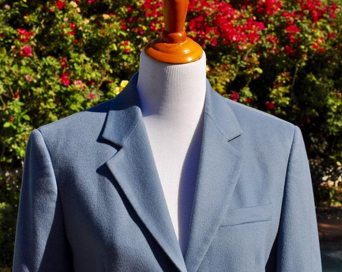 Vintage 1990s Steel Blue Max Mara Virgin Wool Women's Blazer Made in Italy Sz 10