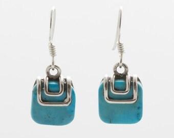 Turquoise Silver Earrings - Dangle & Drop Earrings - Turquoise Jewellery - Handmade Earrings - Turquoise Earrings