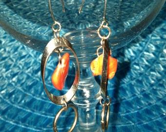 Silver Hoop Red Stone Dangle Earrings