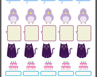 Oops a Daisy stickers for planner/journal/diary x 35 cinema, speech bubble, birthday, cat, dog, bird