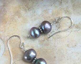 Double gray pearl earrings on sterling silver earwires