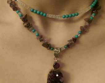 Amethyst, Turquoise and Moonstone Necklace