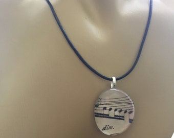Music Pendant Necklace, Music Notes Charm, Vintage Sheet Music from 1896