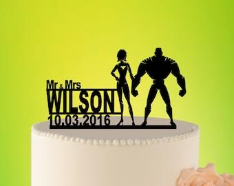 HULK and Superwoman Wedding Cake Topper, Hulk cake topper, SUPERHERO Topper, Wedding topper, Wedding Cake Topper superhero, Unigue L2-01-023