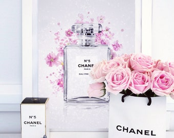 Chanel Canvas Art - Fashion Illustration - Chanel No.5 Perfume Bottle Swarovski Crystal and Glitter Fine Art