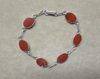 Jasper STERLING silver 6-stone bracelet.