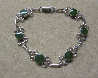 Beautiful Jade STERLING silver round-stone bracelet with a lace-like wire work design.