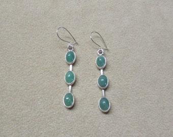 Beautiful Aventurine STERLING silver triple drop earrings.