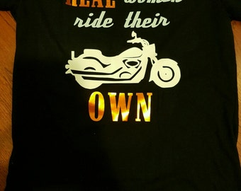 Real women ride their own women's fitted tee