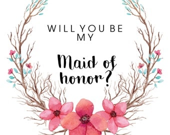 Will you be my Maid of Honor // Floral wreath // Rustic // Maid of Honor // Wedding