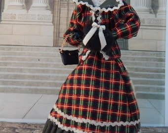 Hand Made !/12th scale Edwardian Lady in a OOAK tartan suit