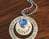 """name necklace, personalized birthstone necklace, hand stamped """"she believed she could so she did"""" necklace, Swarovski crystal necklace"""