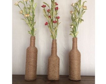 Rustic Twine Wrapped Vases