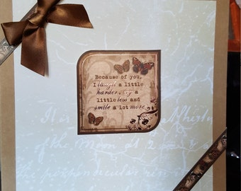 Thank you card with Butterflies and Bow