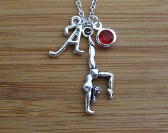 Gymnast Necklace, Handstand Yoga Personalized Necklace, Birthstone Necklace, Gymnastics Lover Gift