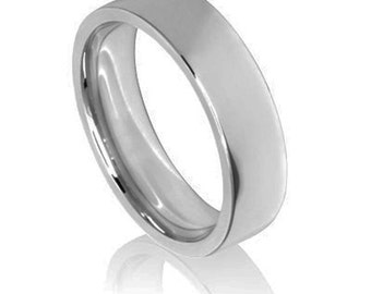 Plain Platinum Wedding Band / Ring - The Flat Court with flat edge profile. Available in light, medium and heavy weight & all sizes.
