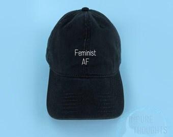 FEMINIST AF Dad Hat Embroidered Black Baseball Cap Low Profile Custom Strap Back Unisex Adjustable Cotton Baseball Hat