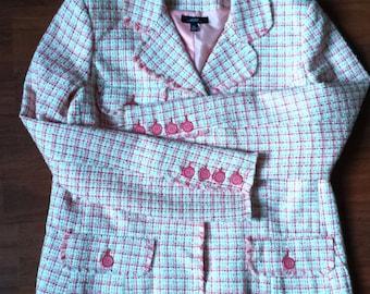 Vintage Pink Plaid Bazer, Pink Blazer, Plaid Blazer, Checkered Blazer, Women's Plaid Blazer, Pink Plaid Blazer