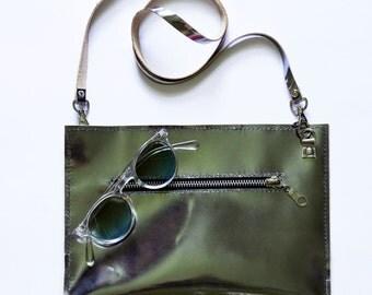 Silver leather clutch, Metallic clutch, Silver clutch, Gray clutch, Silver purse