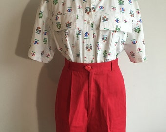 High-Waisted Red Vintage Shorts