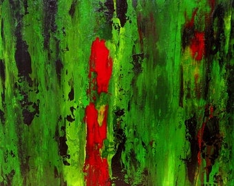 "Rainforest  20"" x 20""  -  Original Abstract Painting (Green, Red, Black, Yellow)"