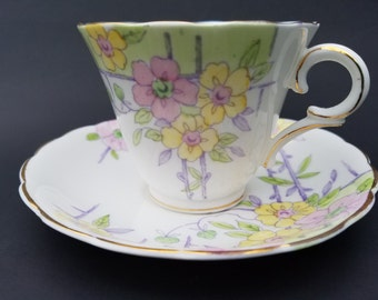 Vintage Coldough~Tea cup and Saucer~Fine Bone English China~1950's~Pastel Floral~#6592