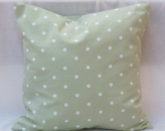 Pillow green, pois, cotton cover handmade