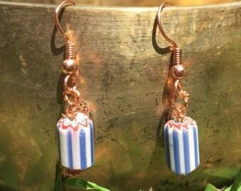 Copper Chevron Bead Earrings