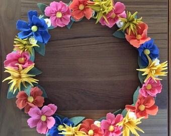 Wool Felt Flower Wreath