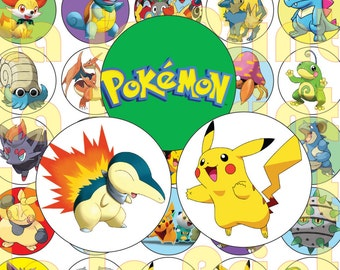 35 Pokemons Digital Party Stickers Circles size 1'' and 1.5'' sheet A4 (8.5''x11'') Bottle Cap images Cupcake Toppers Pikachu Go
