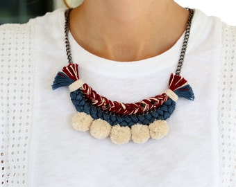 VitalieJD Braided necklace,  Thread Necklace, Swarovski Crystals, Pom Poms, Statement necklace