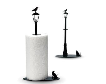 Cat vs. Crow - Black Metal Paper Towel Holder by Artori Design - Paper towel stand
