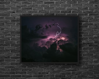Lightning Photography - Stormy Sky - Thunderstorm Photo - Purple Sky Photo Print - Sky Photography - Sky Wall Decor - Purple Wall Decor