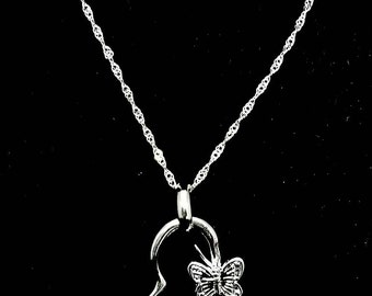 Silver necklace 925 heart and Butterfly