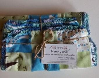 Receiving blanket and burp cloth set