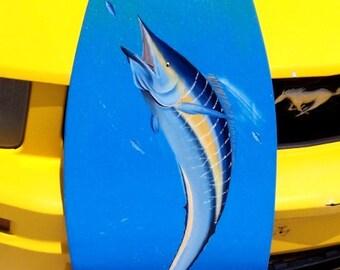 Wahoo, handcrafted, hand painted Surfboard Wall Art