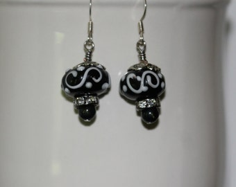 Black and White Lampwork Beads Handmade by 4C'sBeadWorks