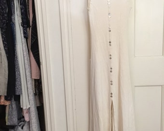 Contempo Casuals 1990s vintage cotton long ribbed white dress size xs