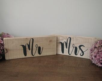 Wooden Handpainted 'Mr & Mrs' Wedding Signs