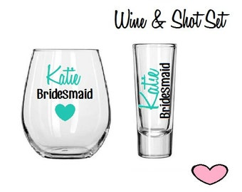 Wine Glass and Shot Glass Gift Set,Bridesmaid Gifts,Bridesmaid Box,Bridesmaid Glass,Bridesmaids Shot,Bridal Party Gift,Wedding Party Glass
