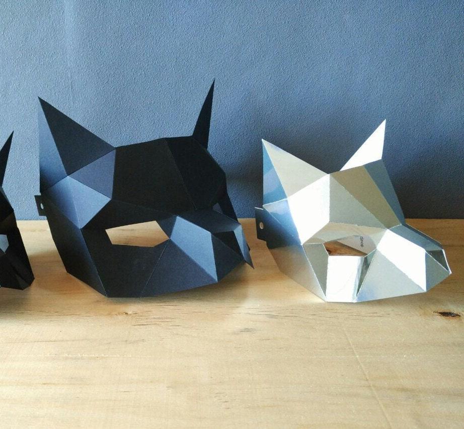 Diy party costume mask black cat kitten template printable -  Zoom