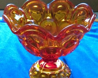 L.E. Smith Amberina Moon & Stars Glass Candy Dish (nice! no chips!)