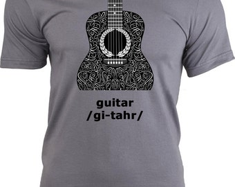 Acoustic Guitar T Shirt, Cotton Men's Adult Tee, Guitar Shirt, Guitar tshirt, Guitar Tee, Band, Rock, Acoustic Guitar, T Shirts