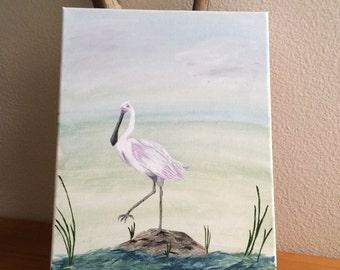 Original Acrylic Bird Painting, Spoonbill, Canvas